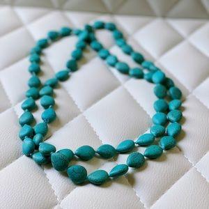 Turquoise Stone Long Infinity Necklace, Boho Style